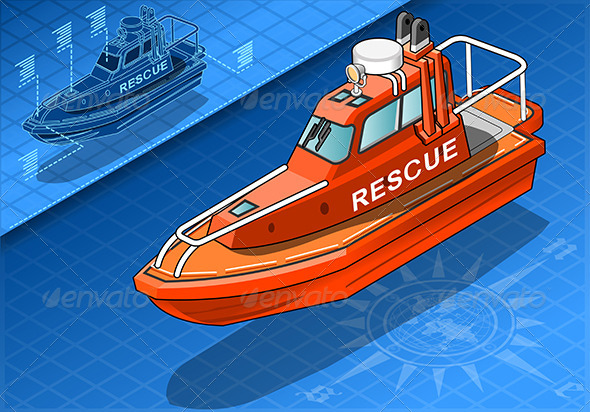 GraphicRiver Isometric Rescue Boat Isolated in Front View 6925378