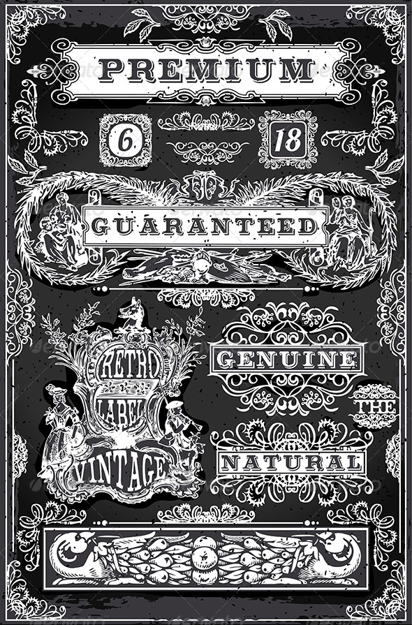 GraphicRiver Vintage Hand Drawn Graphic Banners and Labels 6925391