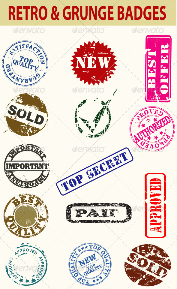 GraphicRiver Retro and Grunge Badges 6918839