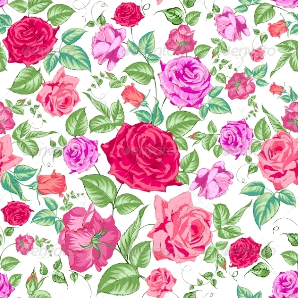 GraphicRiver Roses Floral Background Seamless Pattern 6925549