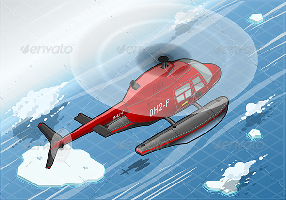 GraphicRiver Isometric Arctic Emergency Helicopter in Flight 6925954