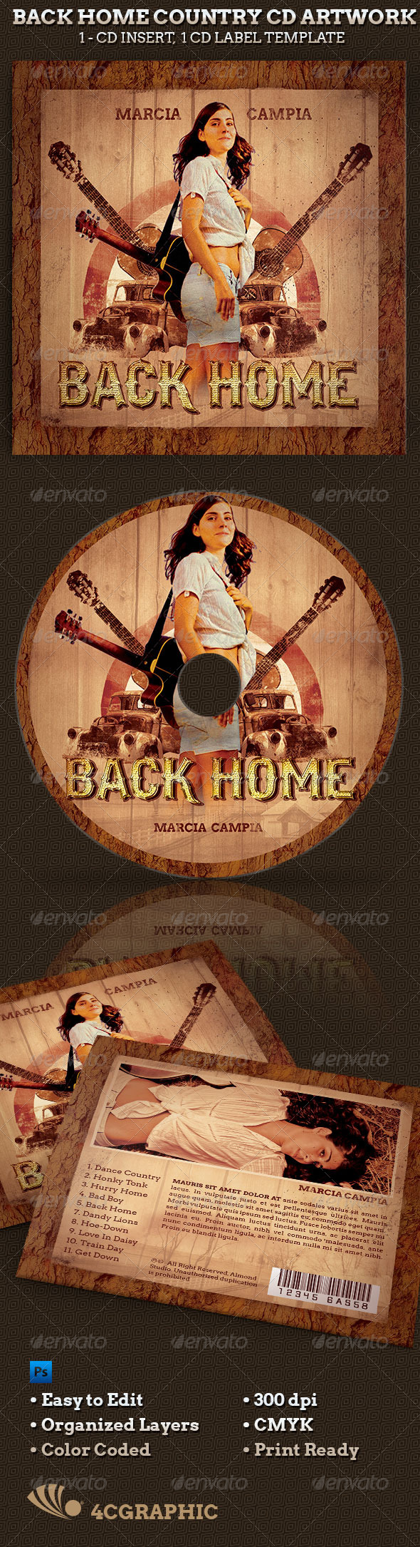 Back Home Country Music CD Artwork - CD & DVD Artwork Print Templates