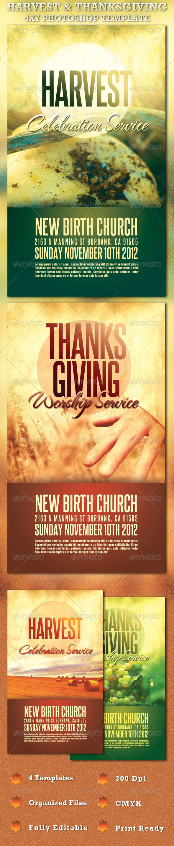 GraphicRiver Harvest and Thanksgiving Service Template 726074