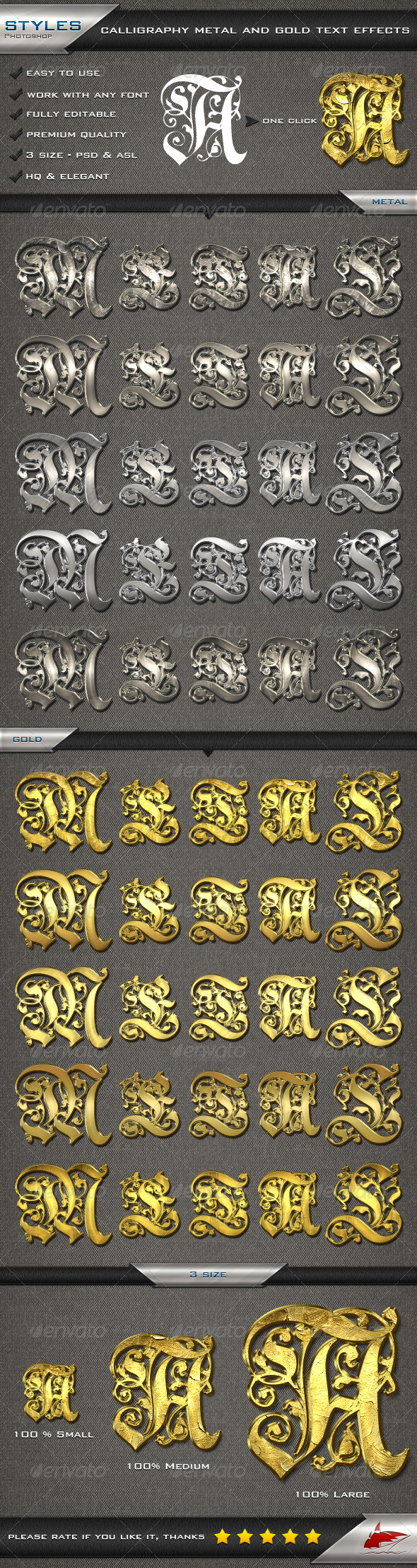 GraphicRiver Calligraphy Metal and Gold Text Effects 6926756