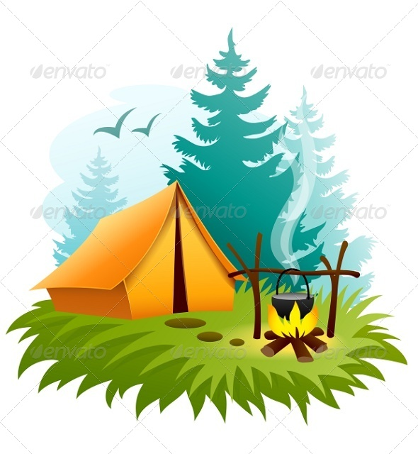GraphicRiver Camping in Forest with Tent and Campfire 6926792