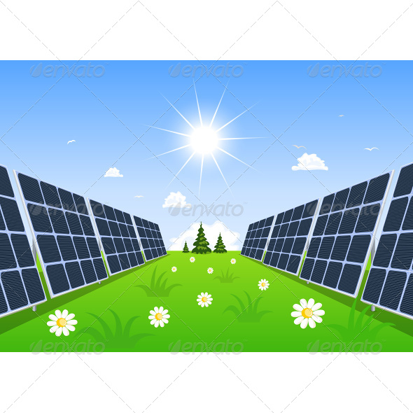 GraphicRiver Solar Panel Produces Green Energy From the Sun 6927070