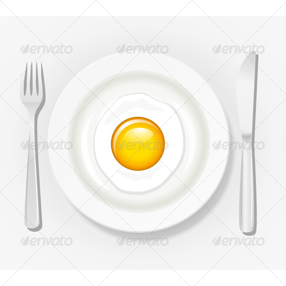 GraphicRiver Egg on a Plate with Cutlery 6927214