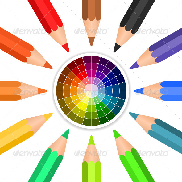 GraphicRiver Colored Pencils Arranged in a Circle 6927228