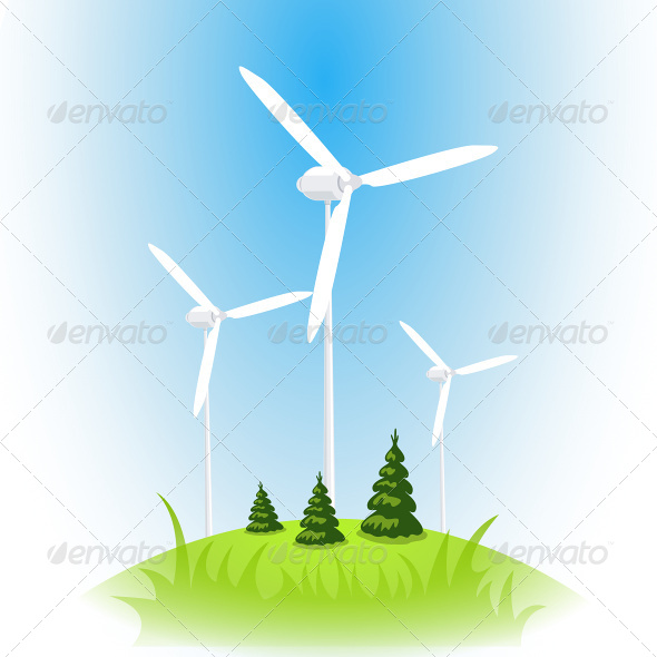 GraphicRiver Wind Turbine Against the Blue Sky 6927347