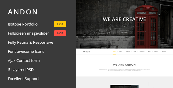 ThemeForest Andon Responsive Parallax Onepage Template 6928803