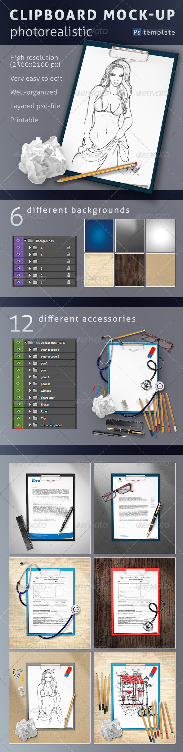 GraphicRiver Photorealistic Clipboard Mock-up 6925406