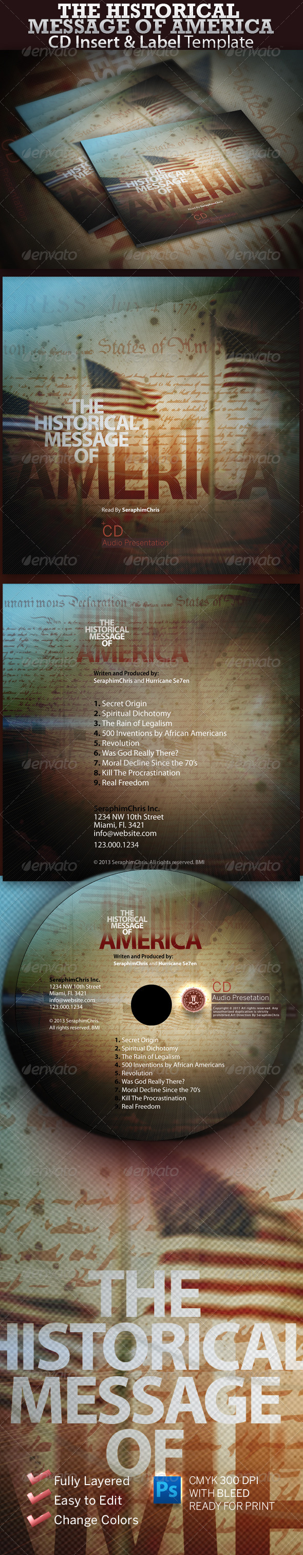 The Historical Message of America CD Insert - CD & DVD artwork Print Templates