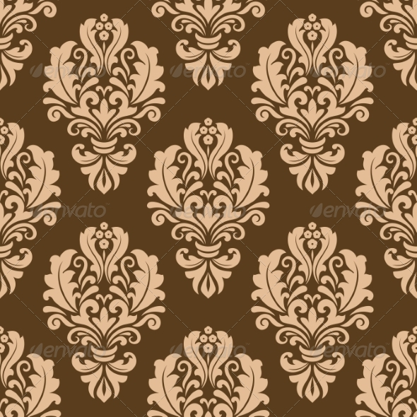GraphicRiver Repeat Floral Motifs on a Brown Background 6932556