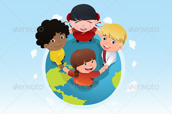 GraphicRiver Multi Ethnic Kids Holding Hands Together 6933305