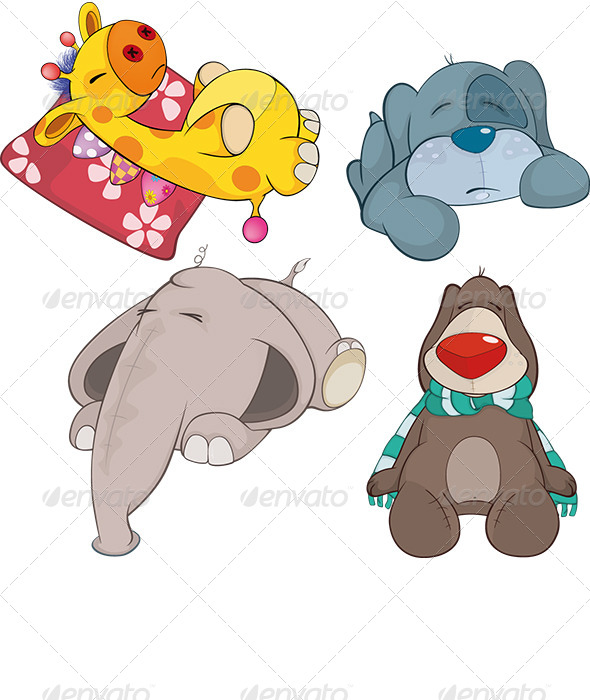 GraphicRiver Set of Soft Toys Cartoon 6933309