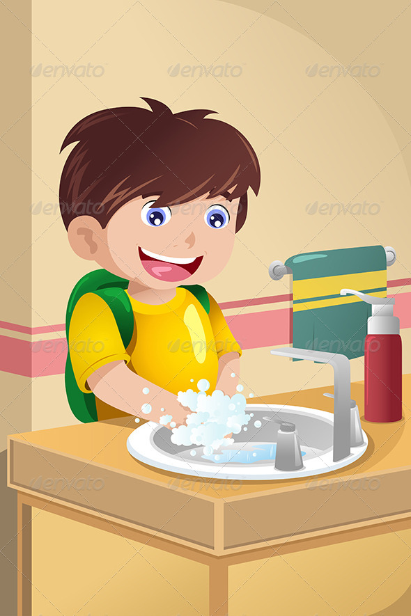 GraphicRiver Little Boy Washing Hands 6933310