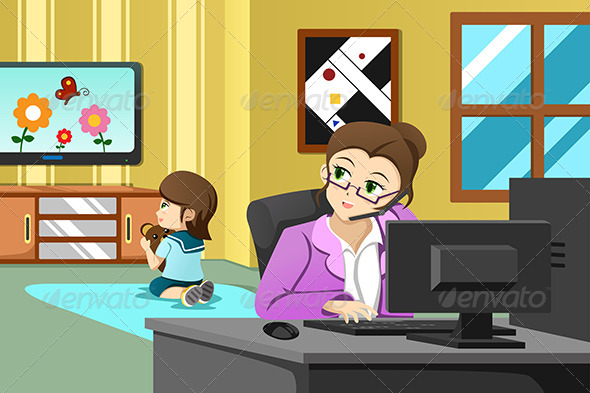 GraphicRiver Mother Working in the Office 6933313