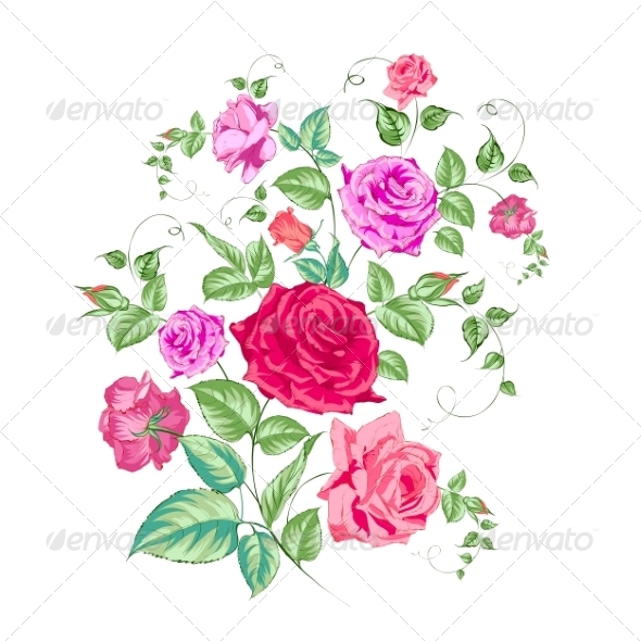GraphicRiver Roses Branch Floral Background 6933552