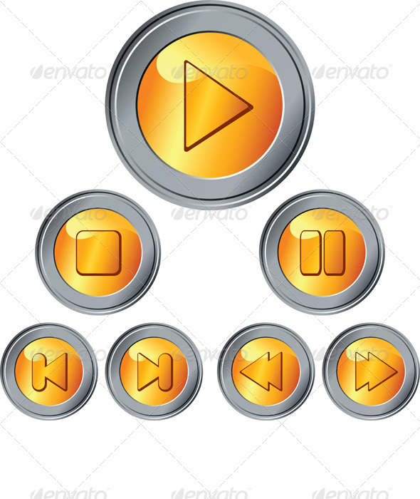 Vector Set of Gold and Silver Button - Man-made Objects Objects