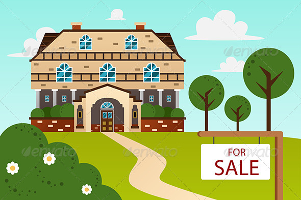 GraphicRiver Modern Home with for Sale Sign 6934659