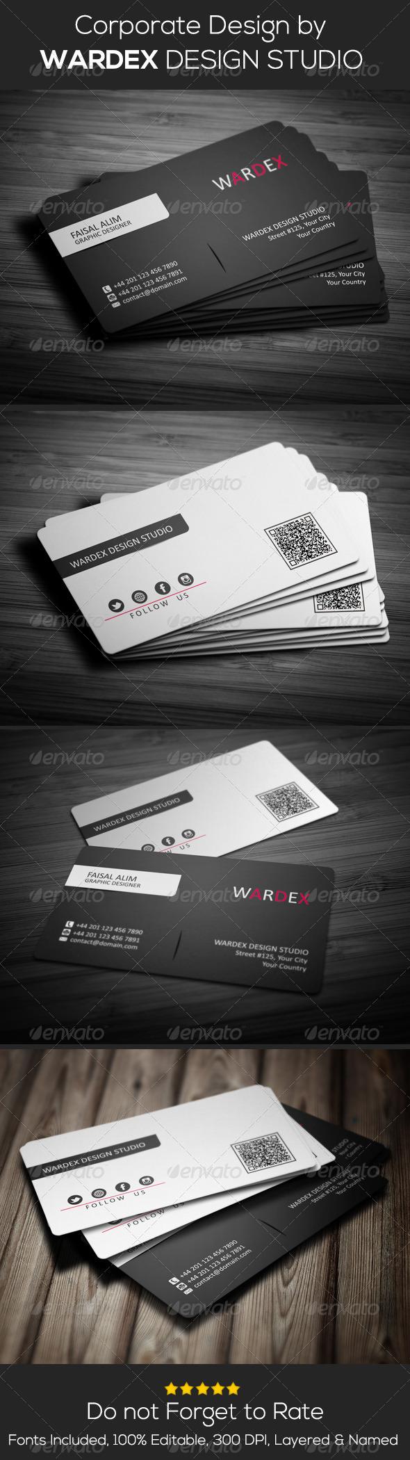 GraphicRiver Clean Black & White Business Card Design 6936590