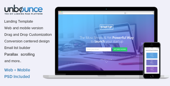 ThemeForest Unbounce Landing Page Template for Startups 6913248
