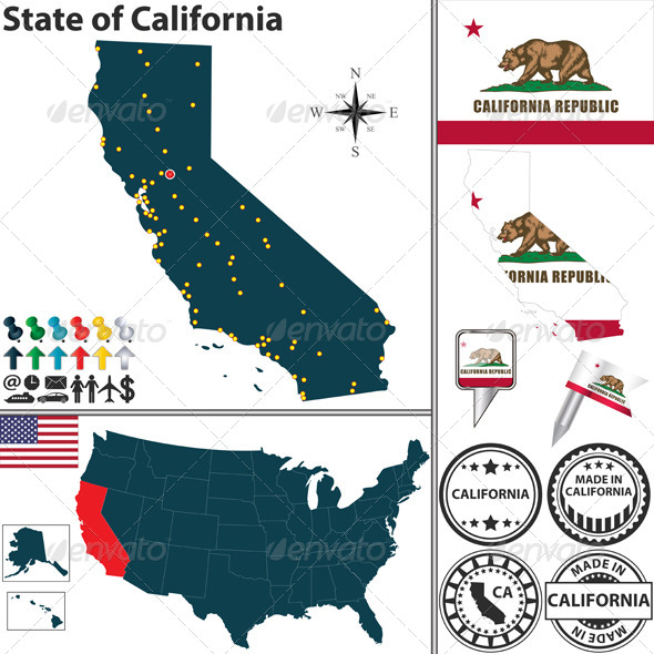 GraphicRiver Map of State California USA 6937762