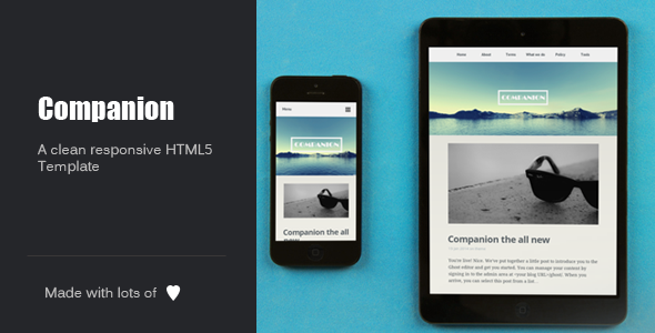 Companion Clean and responsive HTML5 template - Personal Site Templates