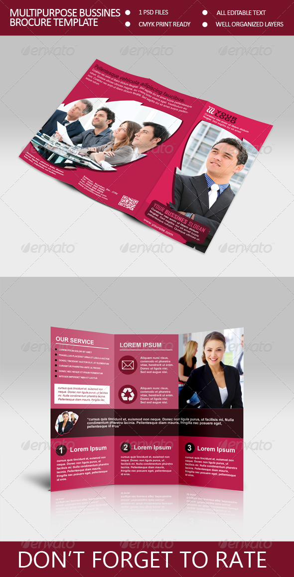 Multiporpuse Bussines Trifold Brocure Template