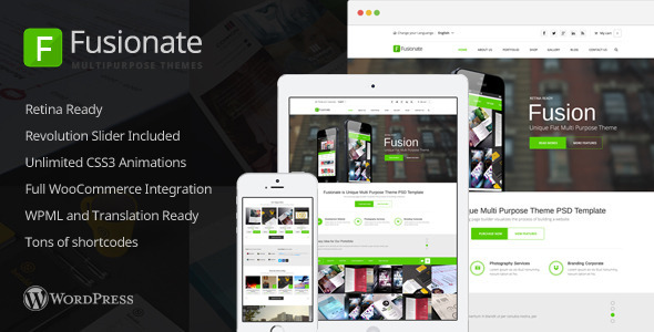 Fusionate is a clean, responsive, and retina ready WordPress theme. It's built on the ThemeLuxe framework which allows endless amounts of customization. P