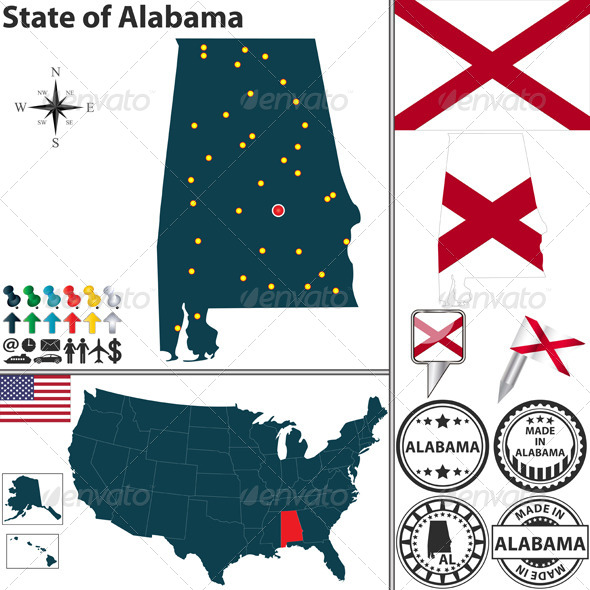 GraphicRiver Map of State Alabama USA 6938552
