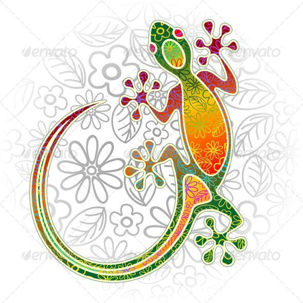 GraphicRiver Gecko Floral Tribal Art 6938691