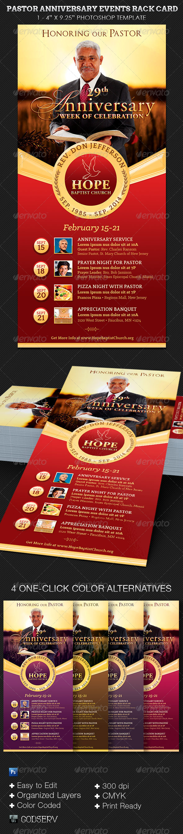GraphicRiver Pastor Anniversary Events Rack Card Template 6933291