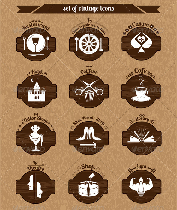 GraphicRiver Set of Vintage Icons 6938216