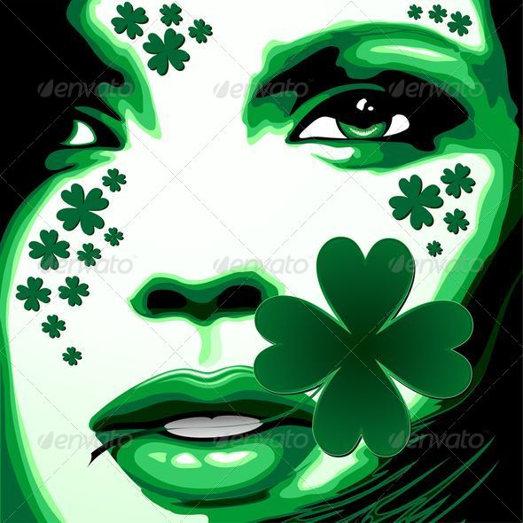 GraphicRiver St Patrick Girl with Shamrock on Lips 6939860