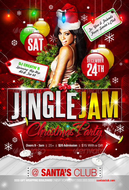 Jingle Jam Christmas Party Flyer Templates - GraphicRiver Previewer