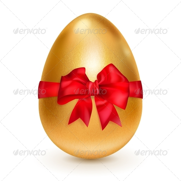 Golden Egg with Red Bow - Miscellaneous Seasons/Holidays