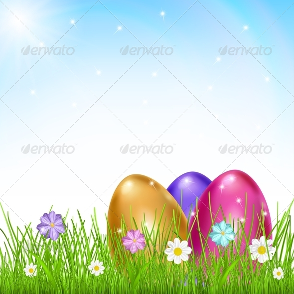 GraphicRiver Three Multicolored Eggs in Grass with Flowers 6940372