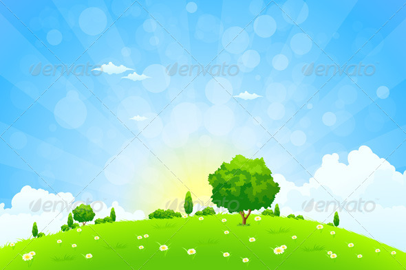 GraphicRiver Green Landscape with Trees 6940431