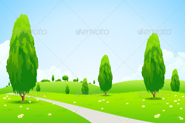 GraphicRiver Green Landscape with Trees 6940571