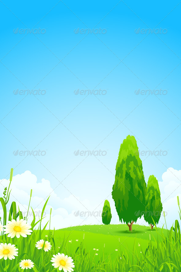 GraphicRiver Green Landscape with Trees 6940578