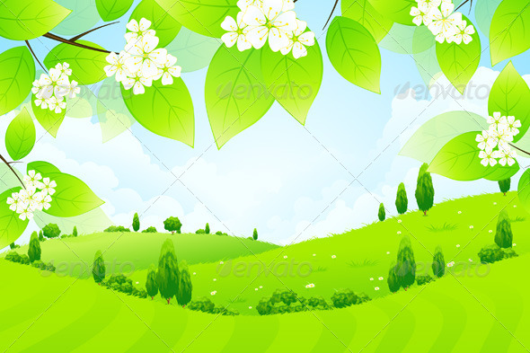 GraphicRiver Green Landscape with Flowers 6940796
