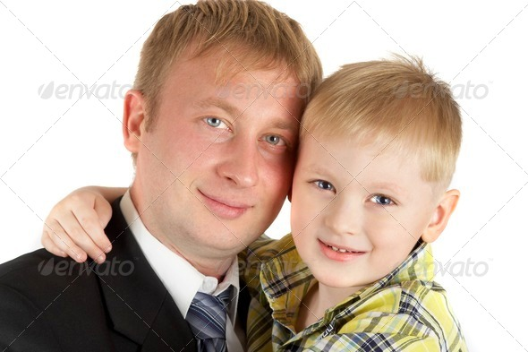 The son on hands of the father. Happy family. - Stock Photo - Images
