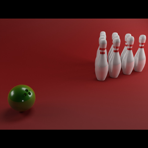 Realistic Bowling Pins w/ Ball - 3DOcean Item for Sale
