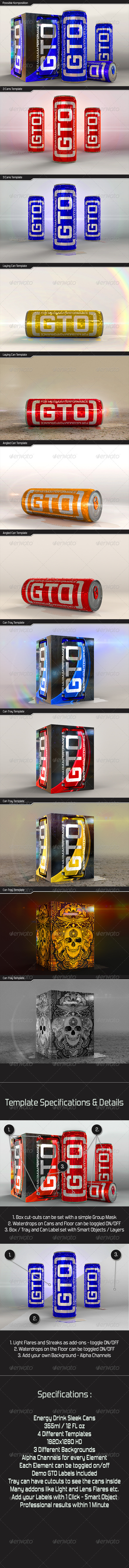 GraphicRiver Energy Drink Sleek Can plus Tray Mockup 6941702