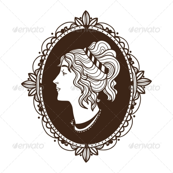 GraphicRiver Vignette Frame with Woman Profile 6941715