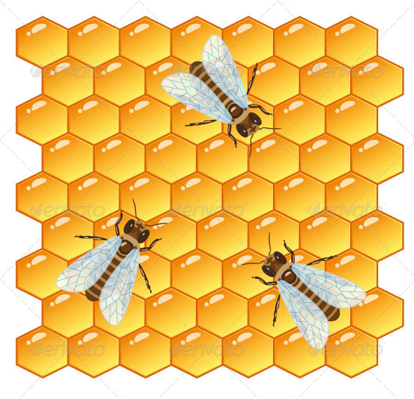 GraphicRiver Bees and Honeycomb 6941780
