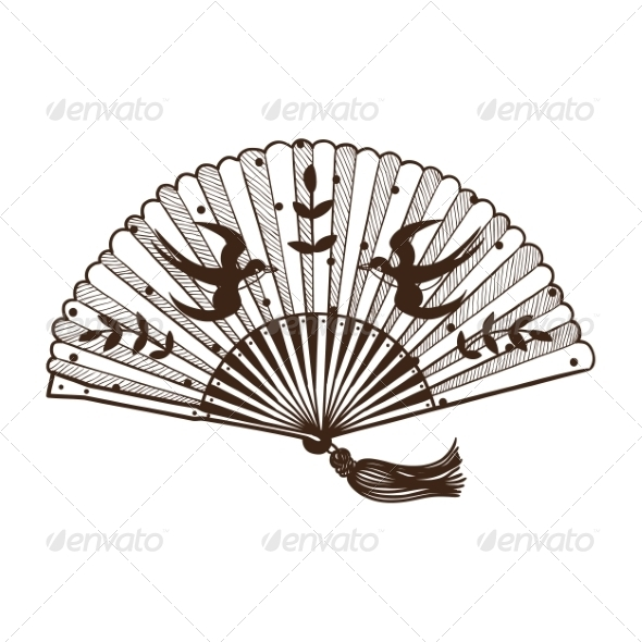 GraphicRiver Lady s Fan with Pattern 6941793