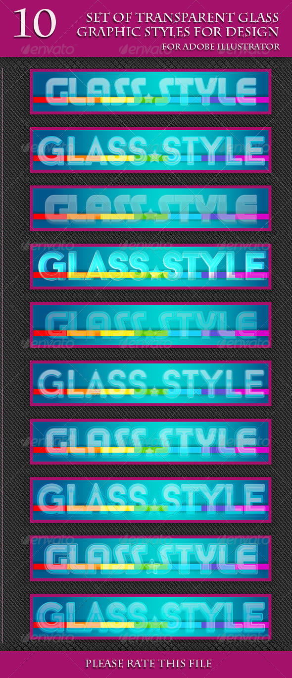 GraphicRiver Set of Transparent Glass Graphic Styles for Design 6941914