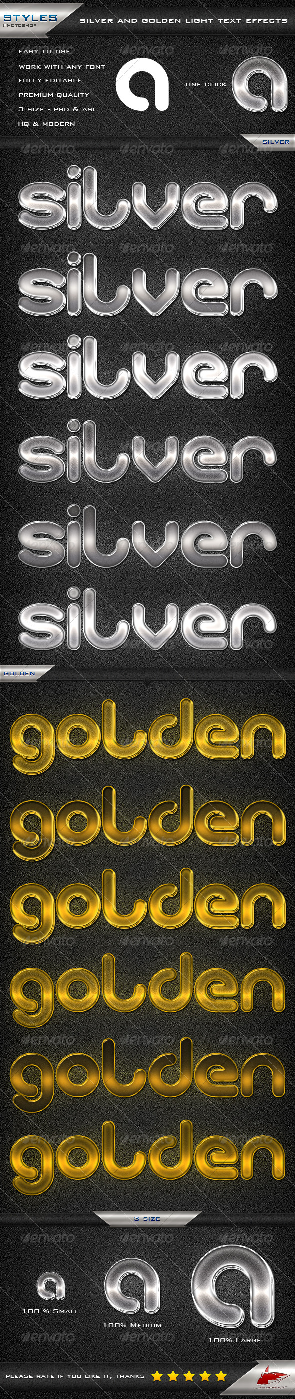 GraphicRiver Silver and Golden Light Text Effects 6941935